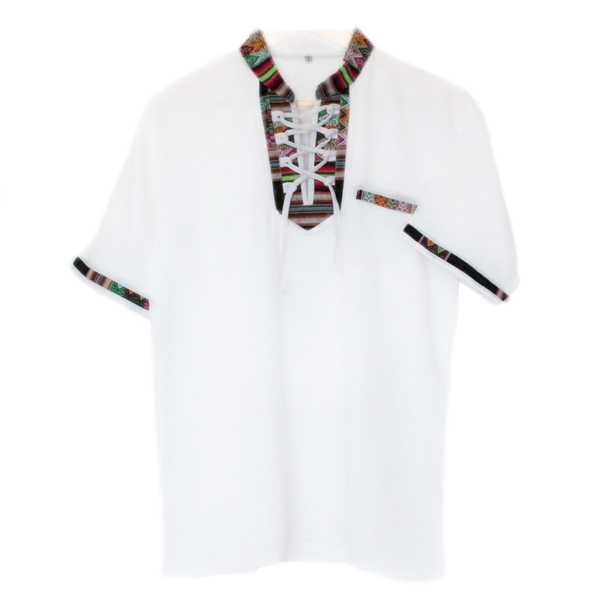 Chemise Col Mao Homme Tissu Traditionnel Andin Coloré - Inka Products