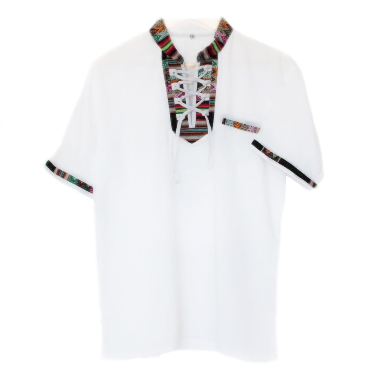 Inka-Products-Chemise Col Mao Homme-Tissu Traditionnel Andin Coloré