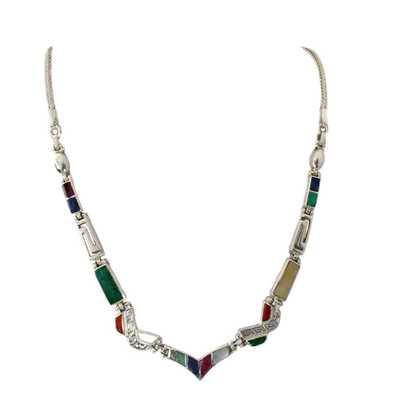 Inka-Products-Collier Argent Princesse Inca-Argent 950ème incrusté de Pierres Semi-précieuses