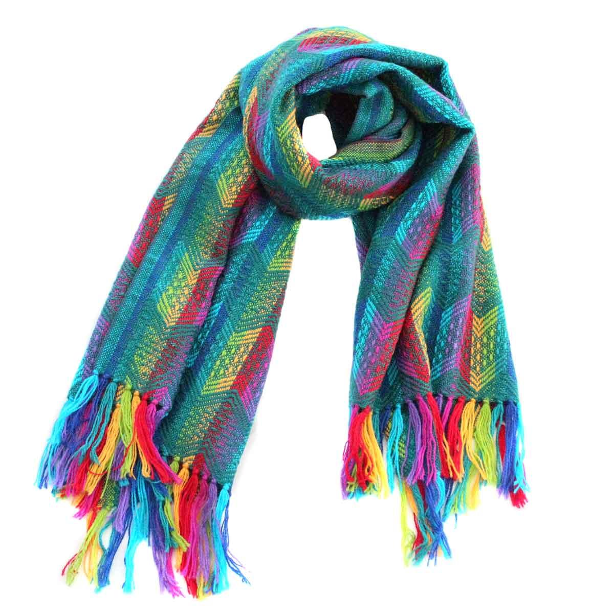 Inka-Products-Châle SAYTU-Vert motifs ethniques