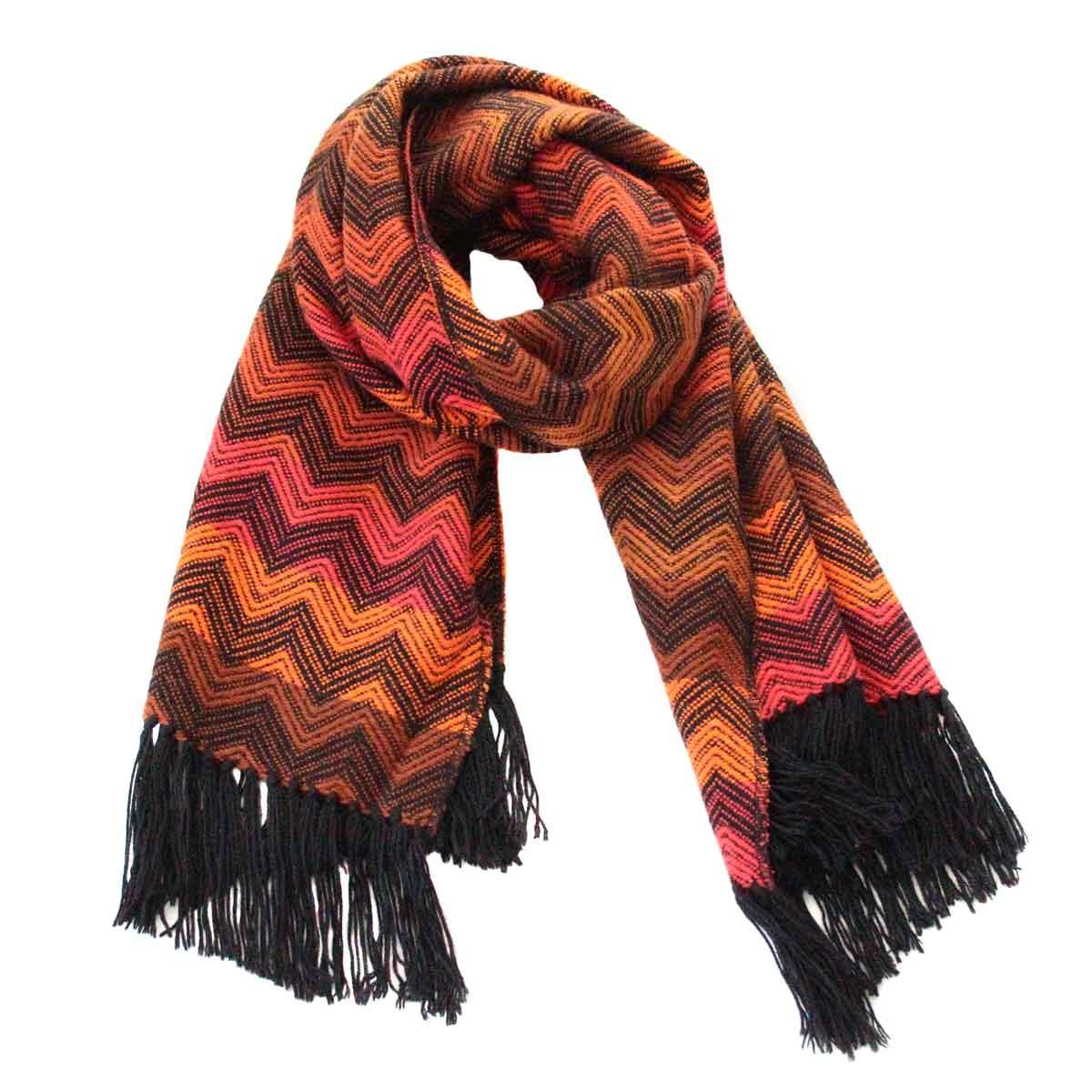 Inka-Products-Châle SAYTU-Orange motifs ethniques