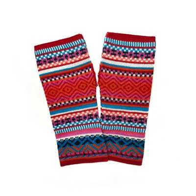 Inka-Products-Mitaines Longues UNIK Baby Alpaga-Rouge Coloré Motifs Ethniques
