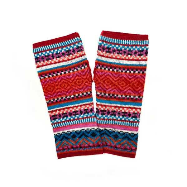 Mitaines Longues UNIK Baby Alpaga Rouge Coloré Motifs Ethniques - Inka Products
