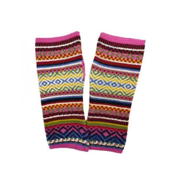 Mitaines Longues UNIK Baby Alpaga Rose Motifs Ethniques - Inka Products