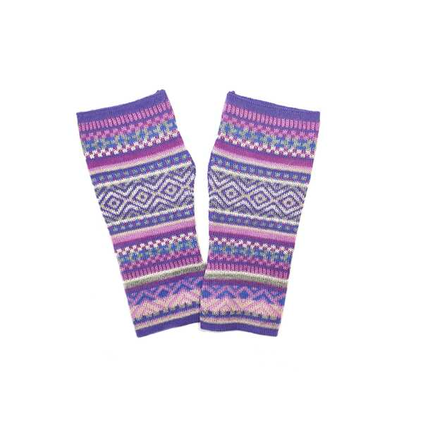 Mitaines Longues UNIK Baby Alpaga Violet Motifs Ethniques - Inka Products