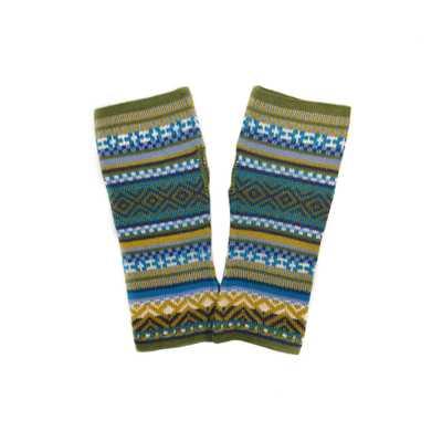 Inka-Products-Mitaines Longues UNIK Baby Alpaga-Vert Motifs Ethniques