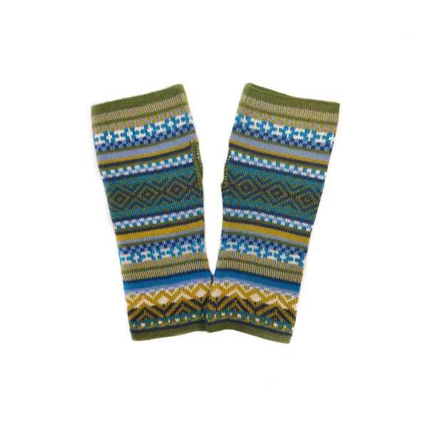 Mitaines Longues UNIK Baby Alpaga Vert Motifs Ethniques - Inka Products