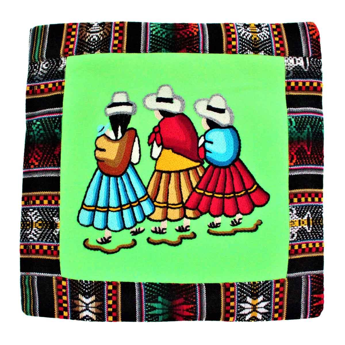 Inka-Products-Housse Coussin Péruvienne-Verte Las Chismosas