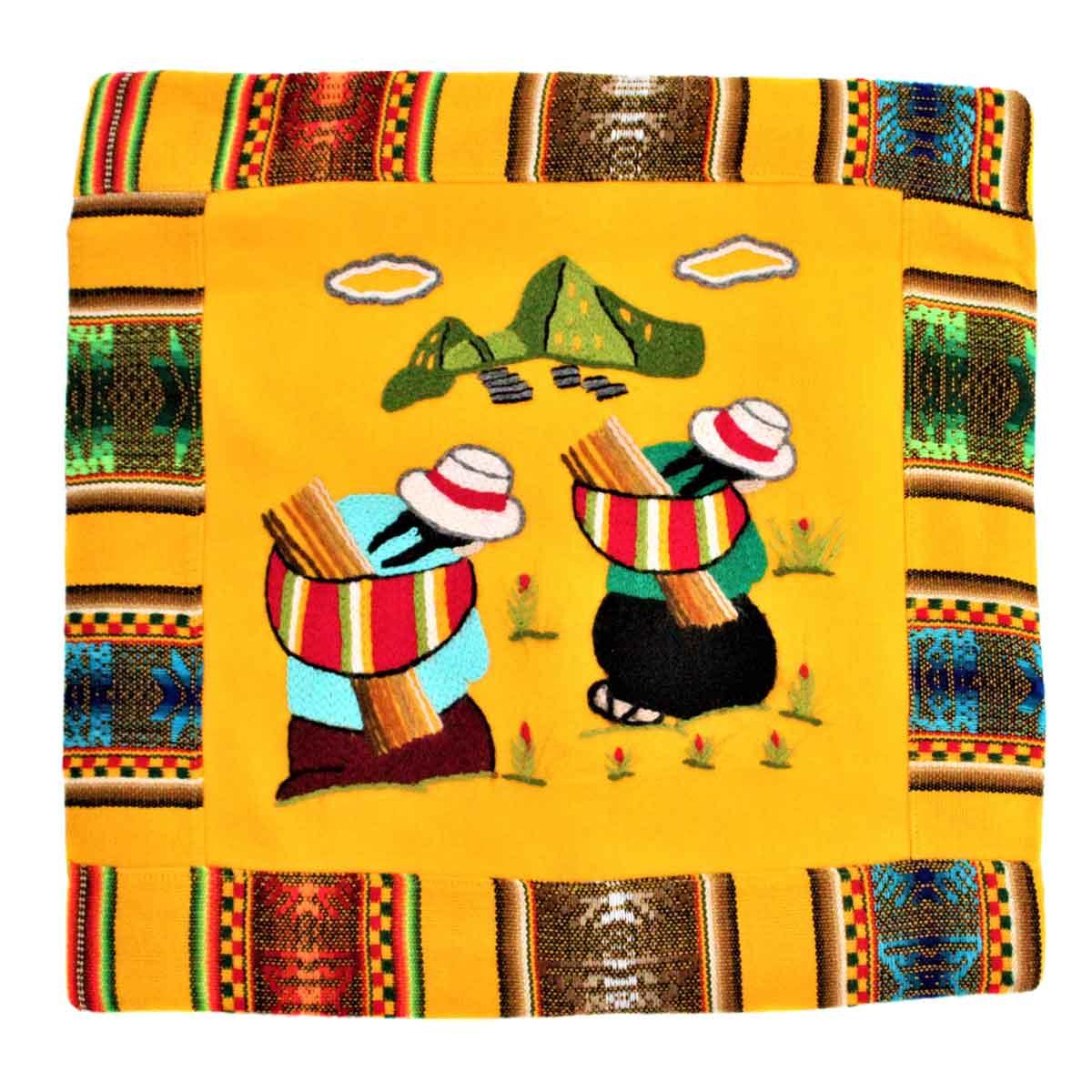 Inka-Products-Housse Coussin Péruvienne-Jaune Las Chismosas
