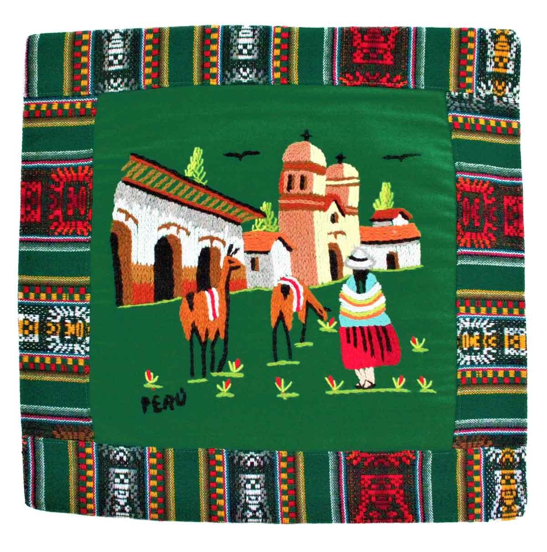 Inka-Products-Housse Coussin Péruvienne-Verte Foncée Pueblo Andino