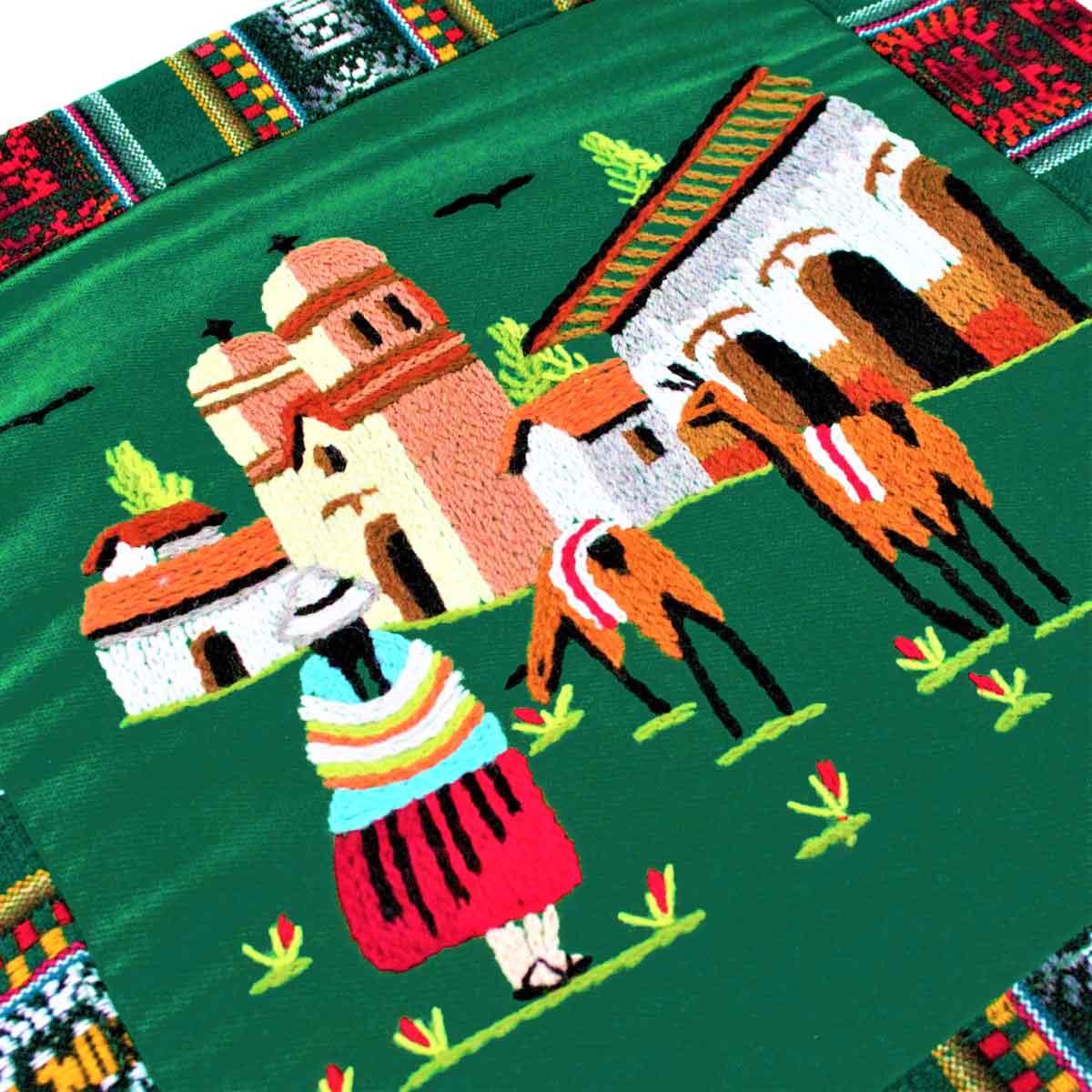 Inka-Products-Housse Coussin Péruvienne-Verte Foncée Pueblo Andino-2
