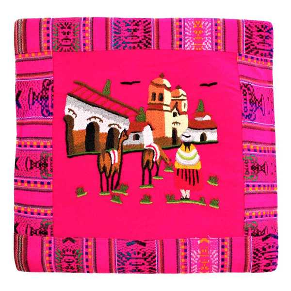 Housse Coussin Péruvienne Fuchsia Pueblo Andino - Inka Products