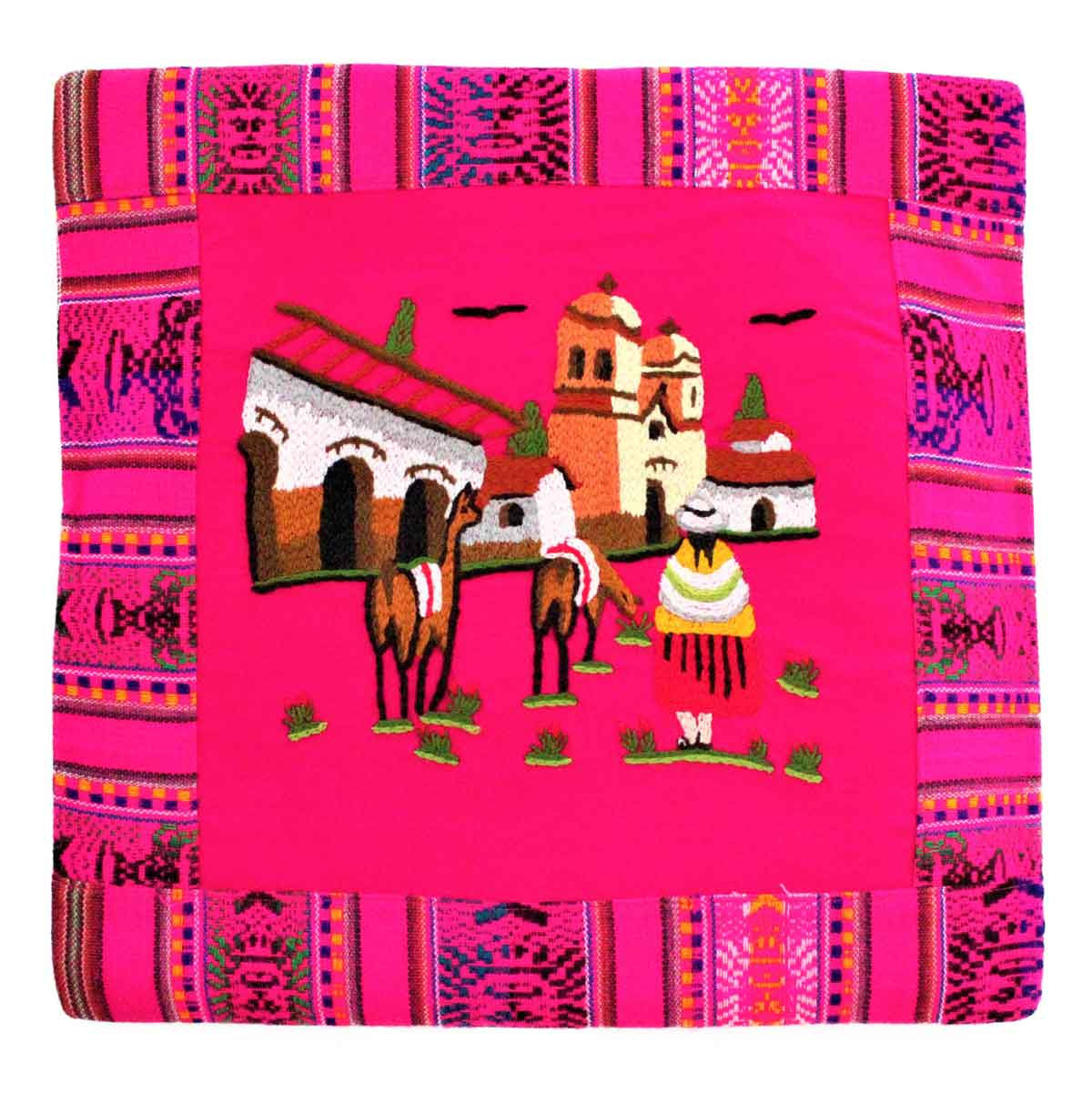 Inka-Products-Housse Coussin Péruvienne-Fuchsia Pueblo Andino