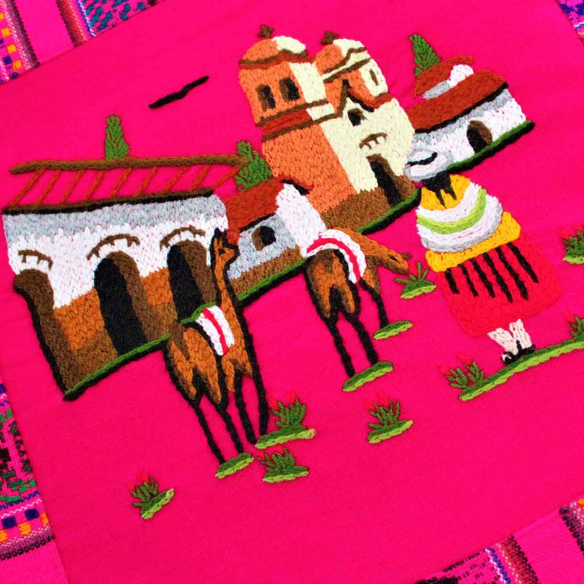 Inka-Products-Housse Coussin Péruvienne-Fuchsia Pueblo Andino-2