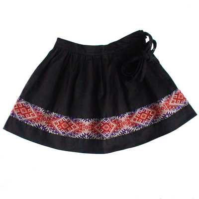 Inka-Products-Mini-Jupe Fille CHOLITA-Noir Motif Ethnique Mochica
