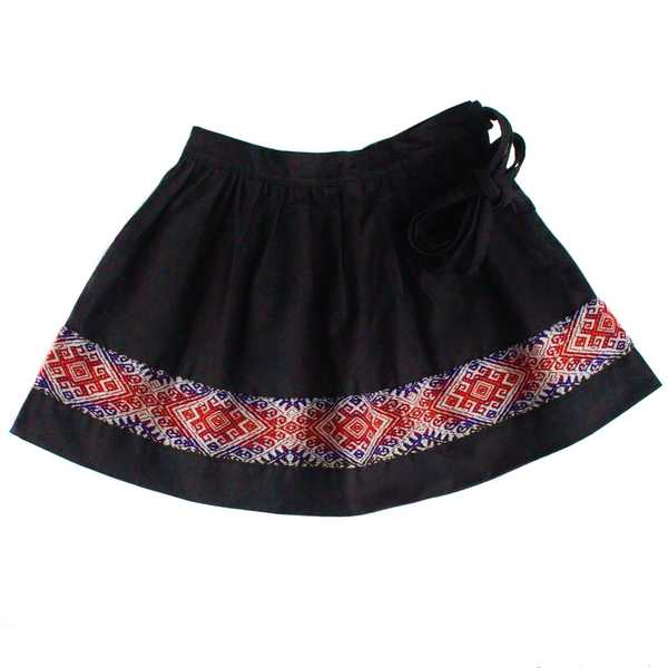 Mini-Jupe Fille CHOLITA Noir Motif Ethnique Mochica - Inka Products
