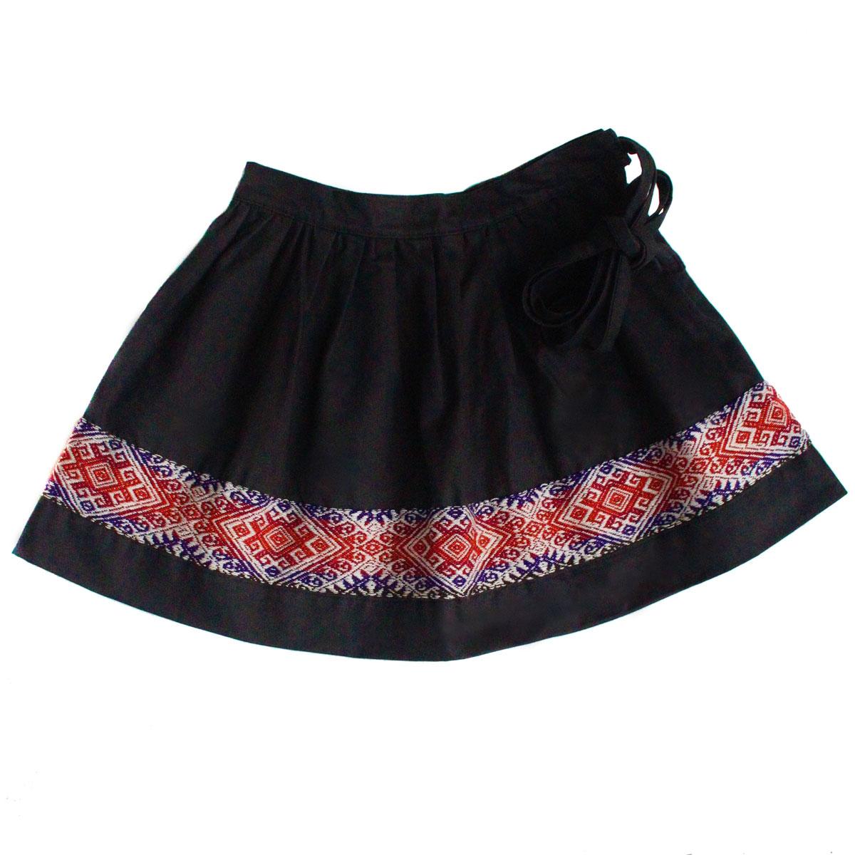 Inka-Products-Mini-Jupe Fille CHOLITA-Noir Motif Ethnique Mochica