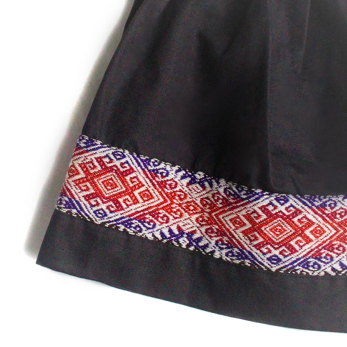 Inka-Products-Mini-Jupe Fille CHOLITA-Noir Motif Ethnique Mochica-2