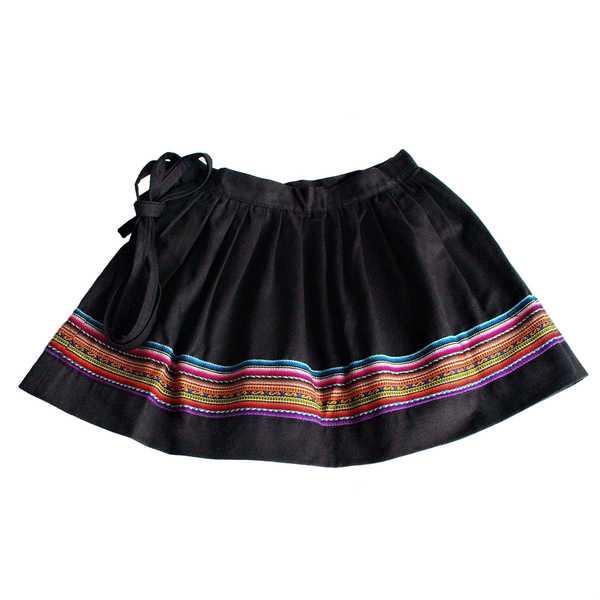 Mini-Jupe Fille CHOLITA Noir Motif Ethnique Kurmi - Inka Products