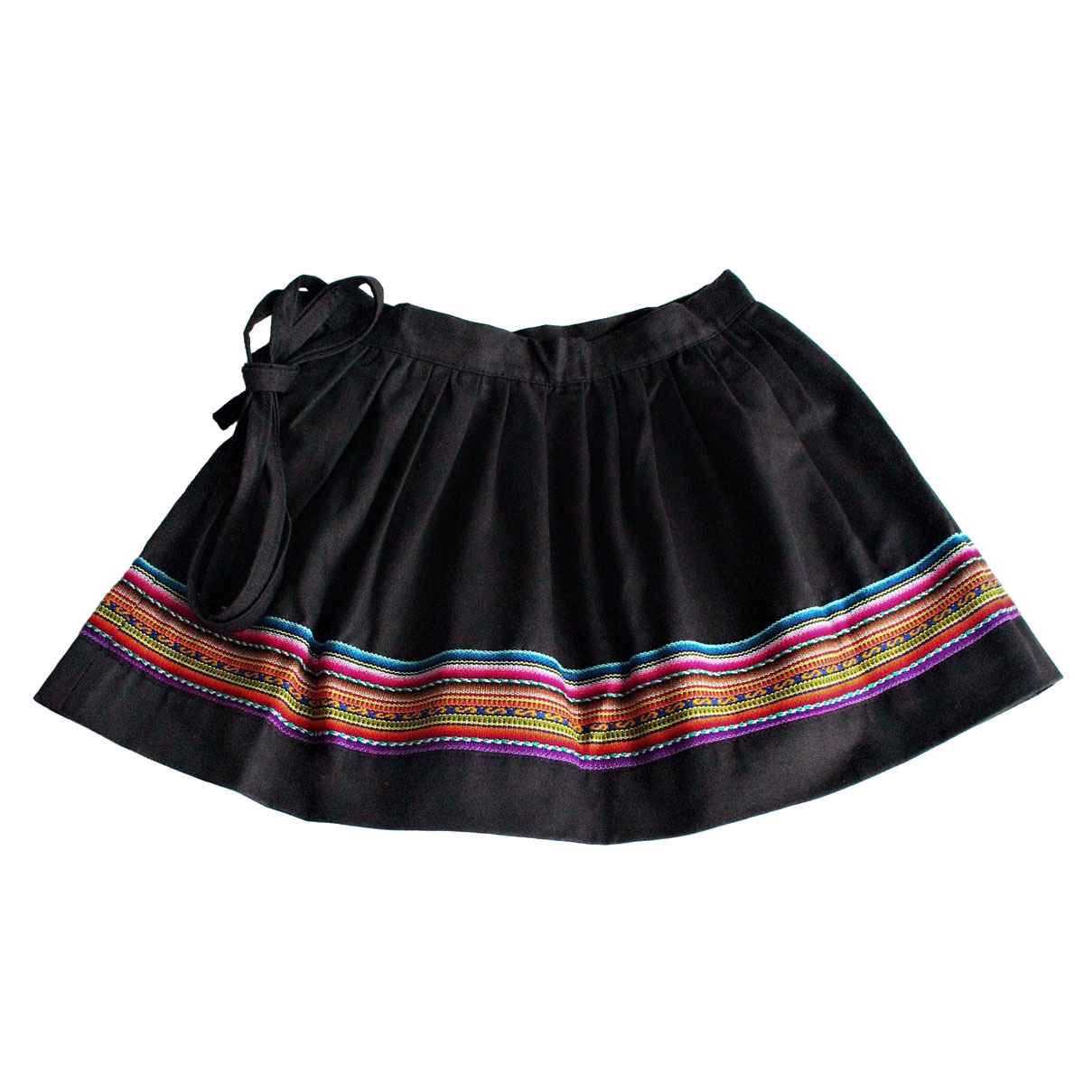 Inka-Products-Mini-Jupe Fille CHOLITA-Noir Motif Ethnique Kurmi