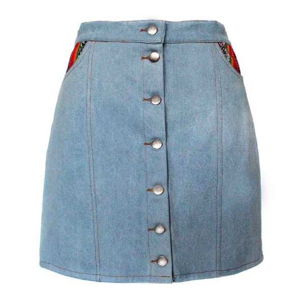 Mini-jupe Femme Denim Tissu Traditionnel Andin Orange - Inka Products