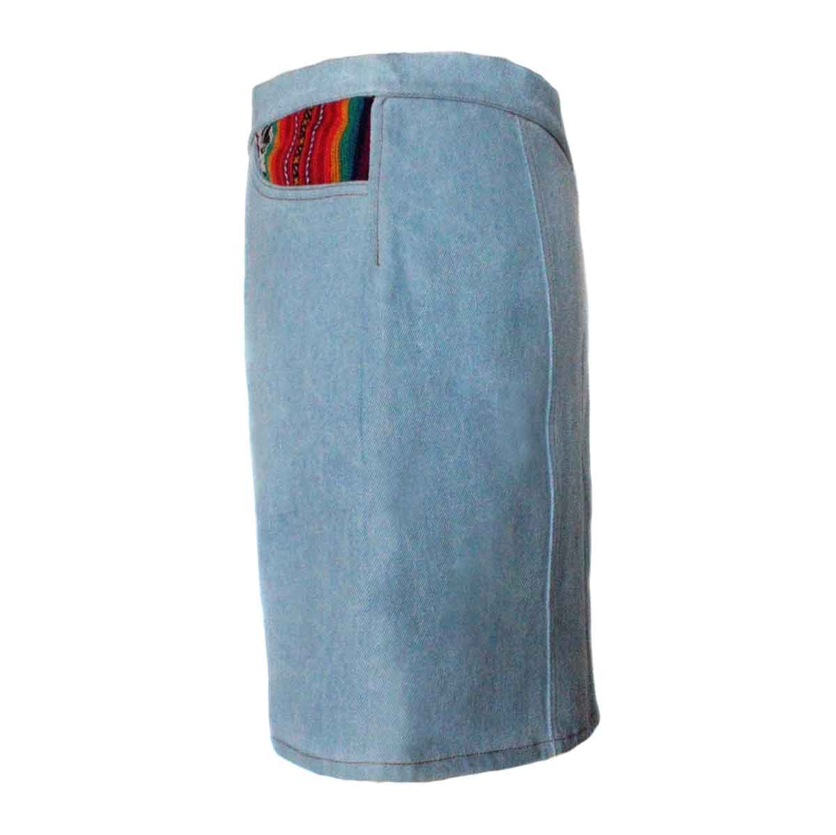 Inka-Products-Mini-jupe Femme Denim Délavé-Tissu Traditionnel Andin Orange-2