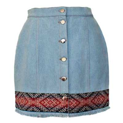 Inka-Products-Mini-jupe Femme Denim-Tissu Traditionnel Andin Mochica