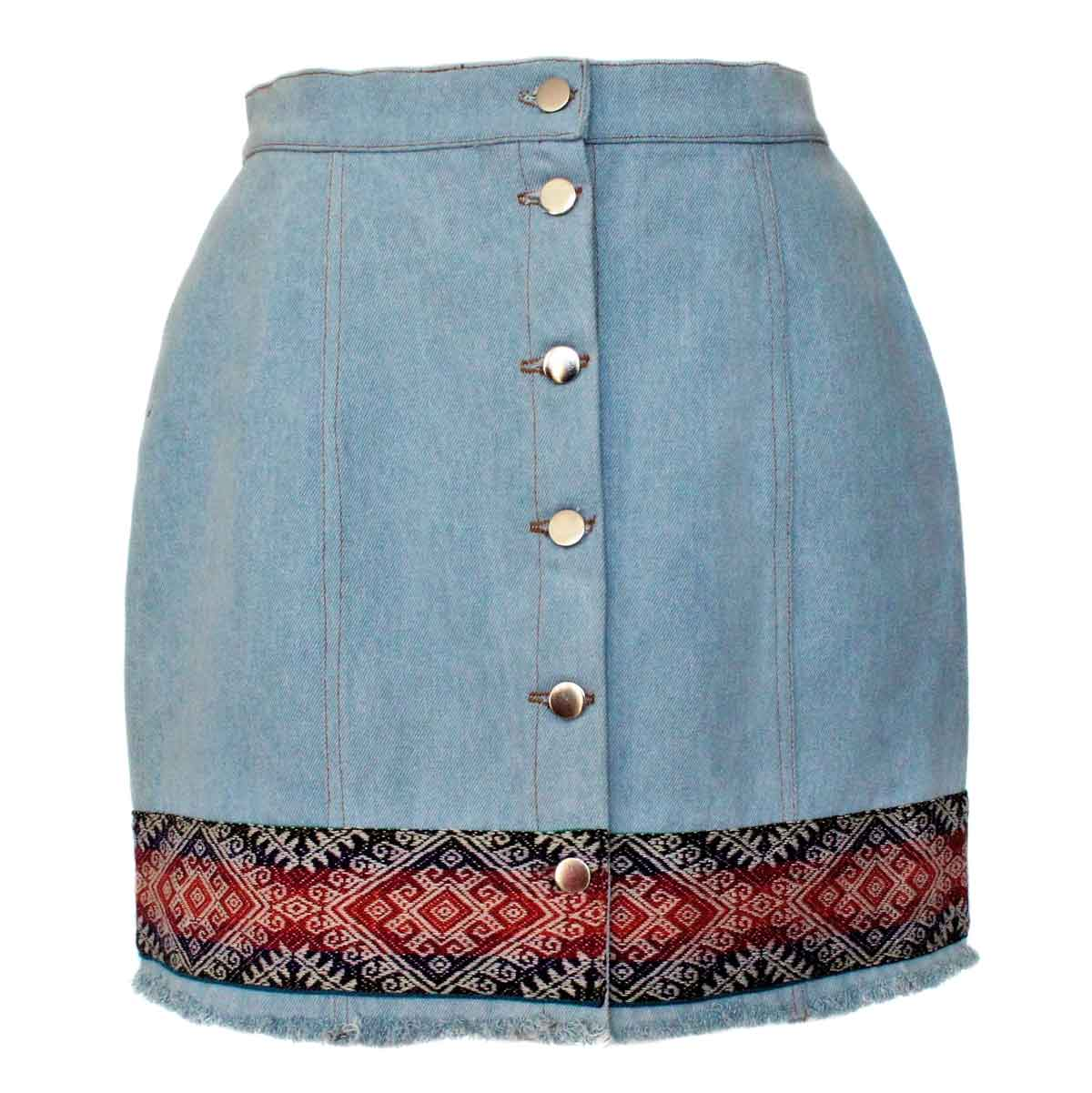 Inka-Products-Mini-jupe Femme Denim Mochica-Tissu Traditionnel Andin Orange Foncé et Violet