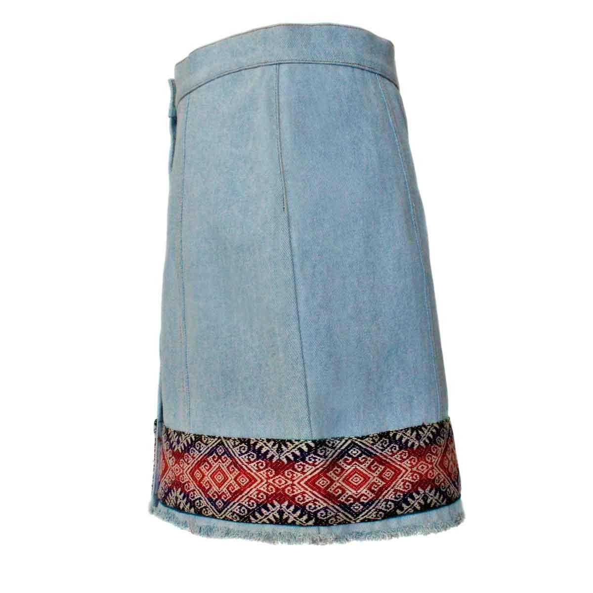 Inka-Products-Mini-jupe Femme Denim Mochica-Tissu Traditionnel Andin Orange Foncé et Violet-2