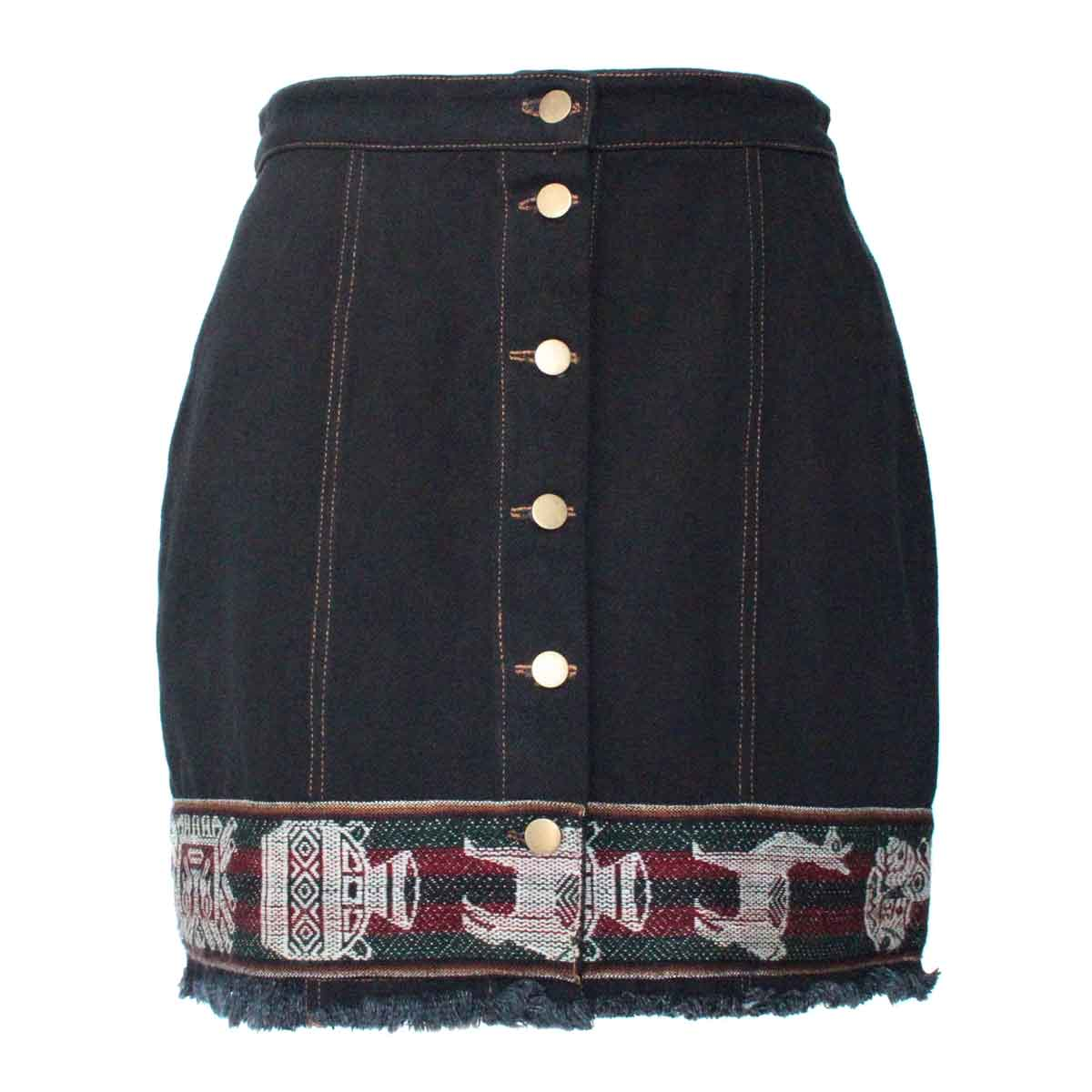 Inka-Products-Mini-jupe Femme Denim Noir-Tissu Traditionnel Andin Bordeaux