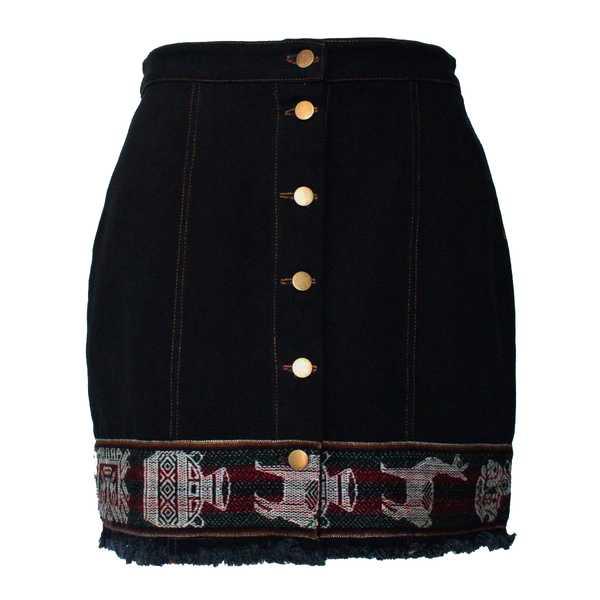 Mini-jupe Femme Denim Noir Tissu Traditionnel Andin Bordeaux - Inka Products