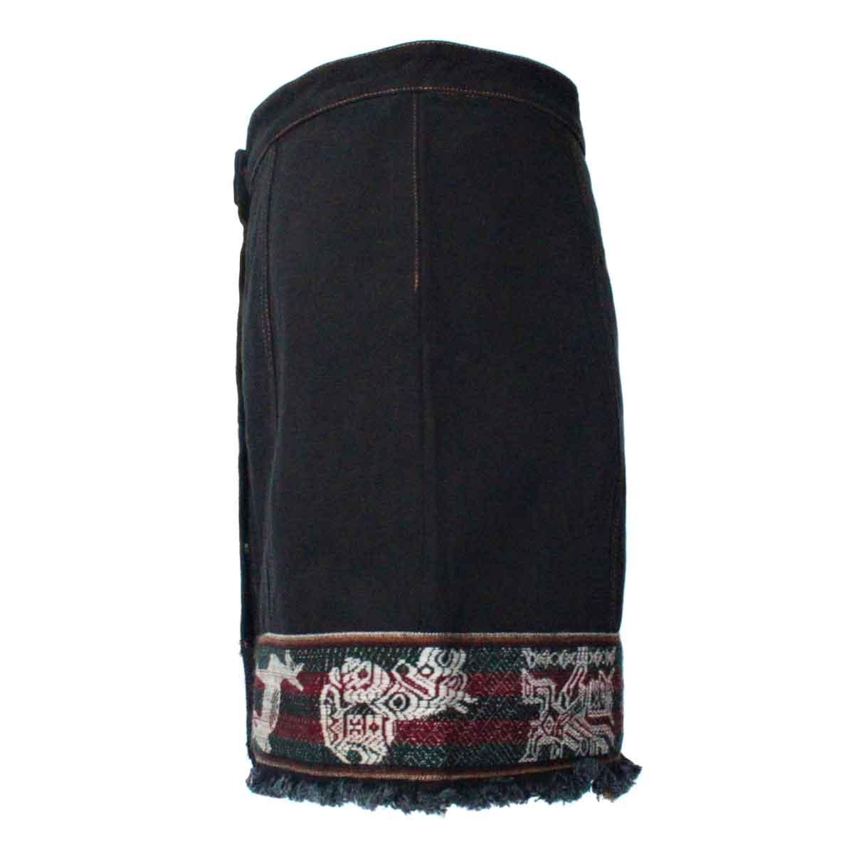 Inka-Products-Mini-jupe Femme Denim Noir-Tissu Traditionnel Andin Bordeaux-2