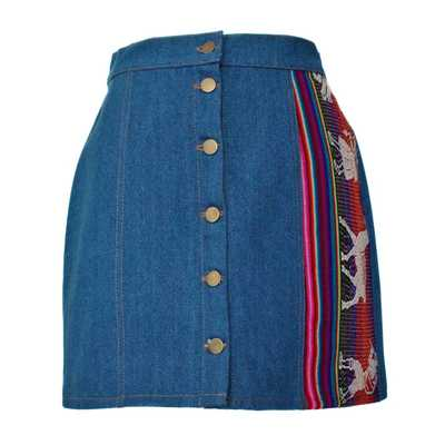 Inka-Products-Mini-jupe Femme Denim Bleu Jean-Tissu Traditionnel Andin Coloré