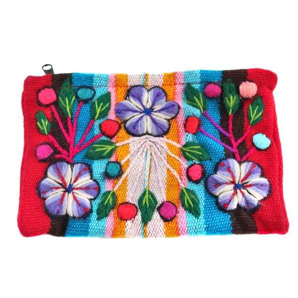 Trousse Ethnique KINTU Bleu Ciel Brodé Main - Inka Products