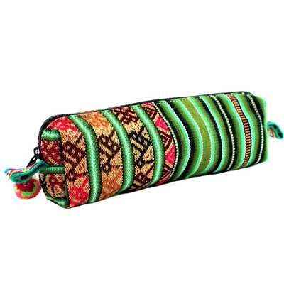 Inka-Products-Pochette Tissu Péruvien-Vert Fait Main