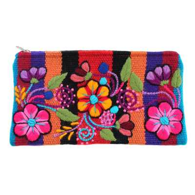 Inka-Products-Trousse Ethnique  RAYMI-Orange Brodé Main