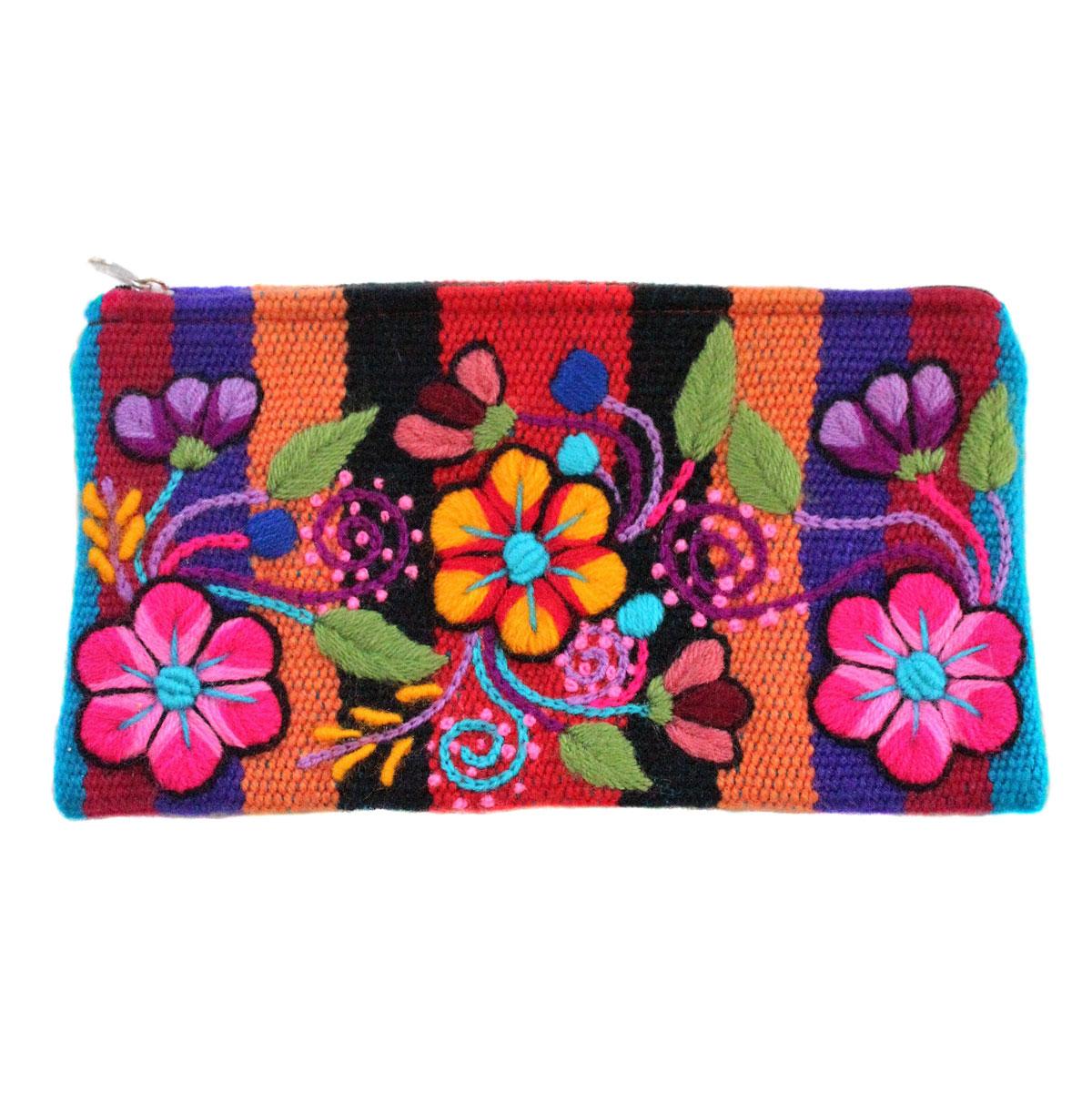 Inka-Products-Trousse Ethnique  RAYMI-Orange Brodé Main
