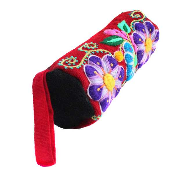 Trousse Ethnique KHUYAY Bordeaux Brodé Main - Inka Products