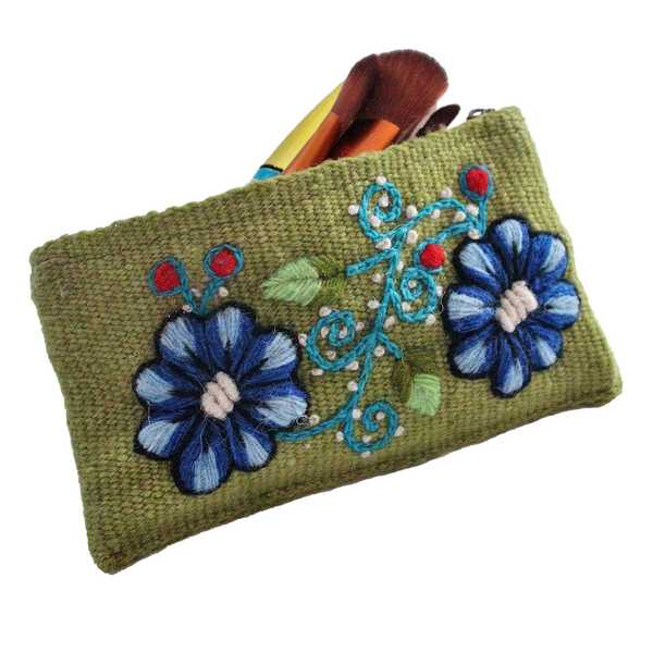 Trousse Ethnique PACHA Vert Brodé Main - Inka Products