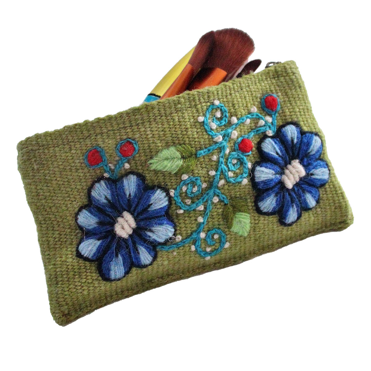 Inka-Products-Trousse Ethnique PACHA-Vert Brodé Main