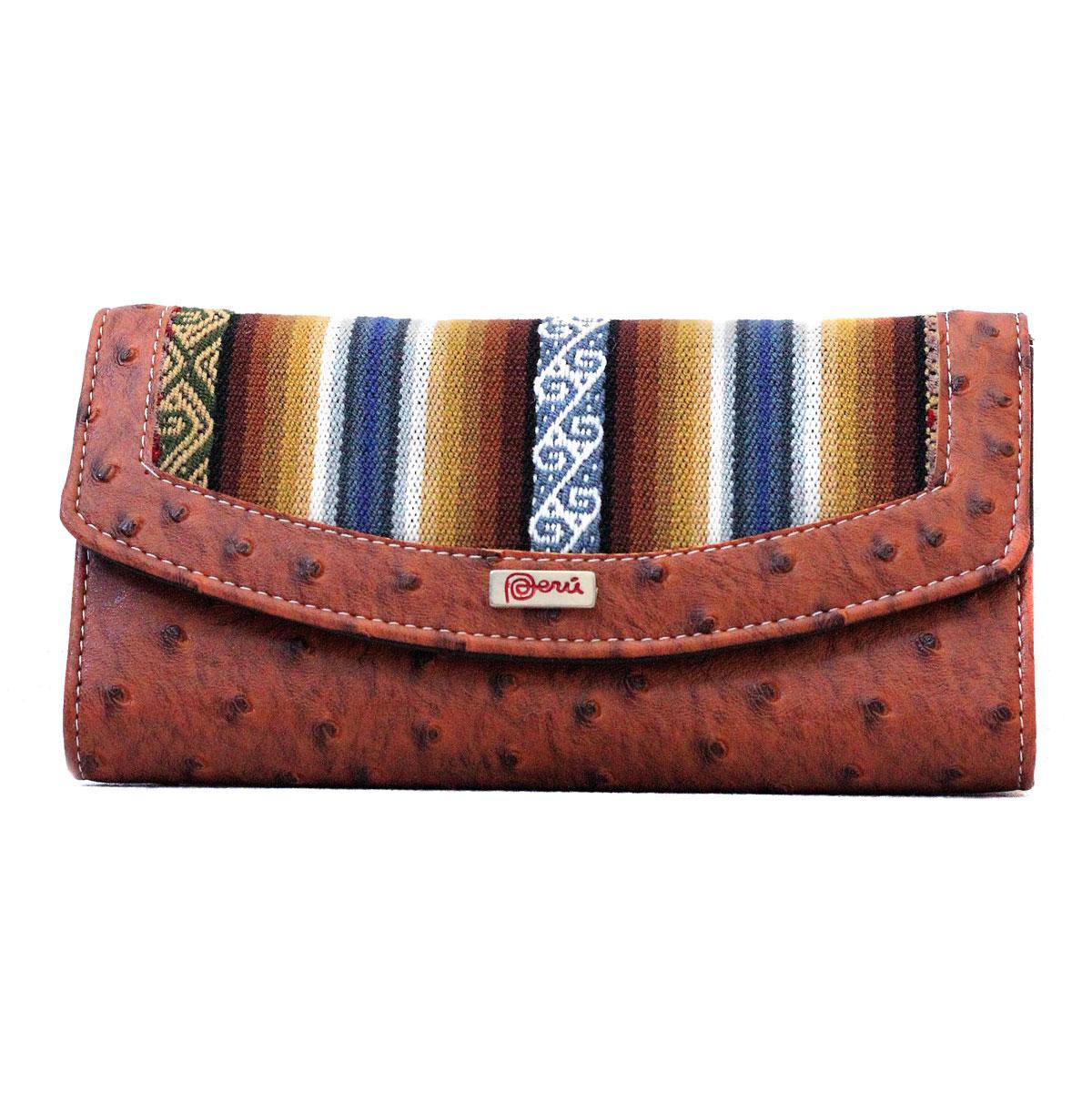 Inka-Products-Portefeuille péruvien PACHA-Marron Blue Ethnique