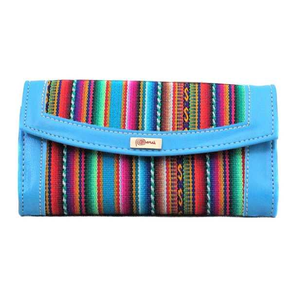 Portefeuille péruvien QHUSI Blue Ciel Coloré Ethnique - Inka Products