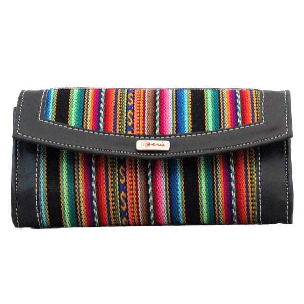 Portefeuille Péruvien WANI Noir Coloré Ethnique - Inka Products