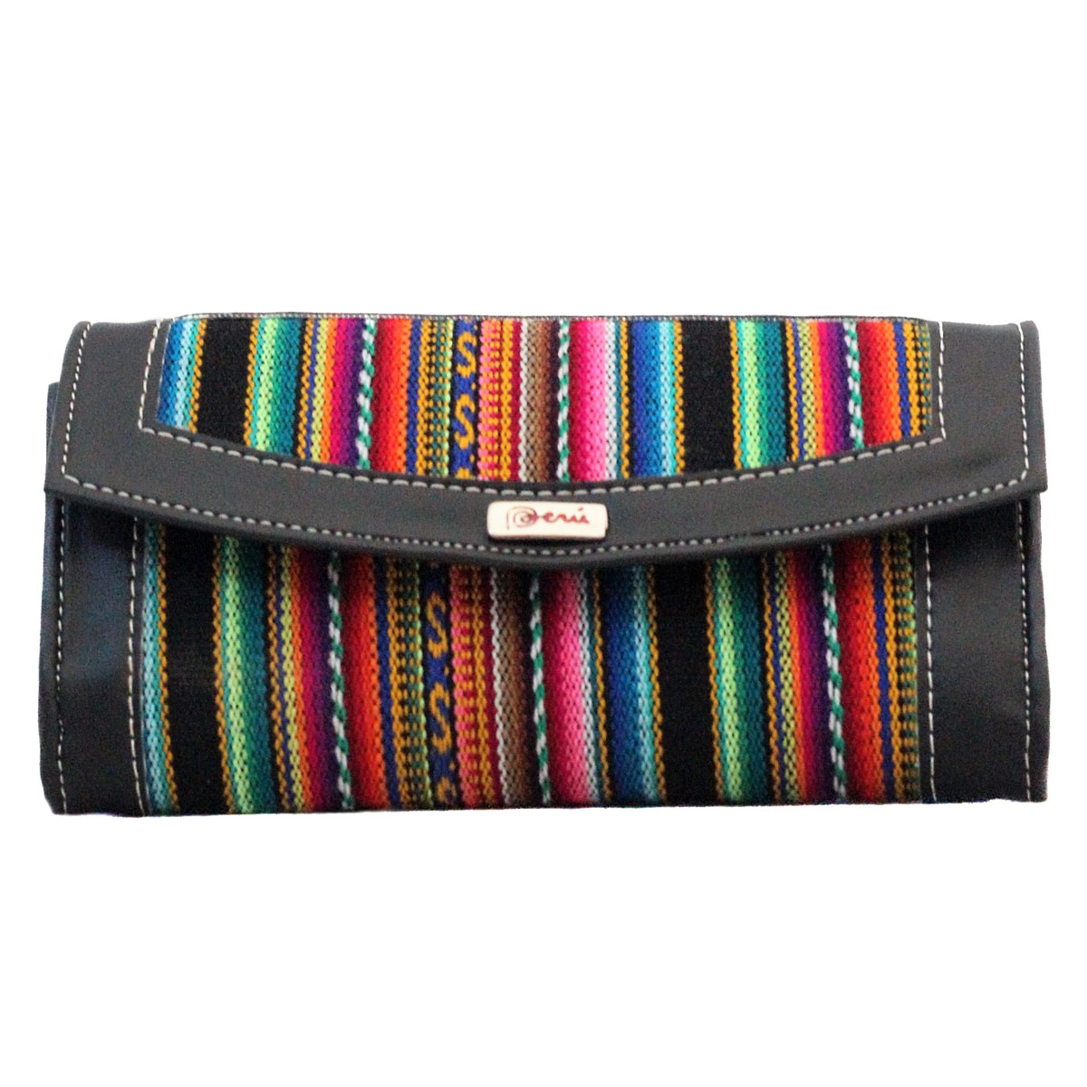 Inka-Products-Portefeuille Péruvien WANI-Noir Coloré Ethnique
