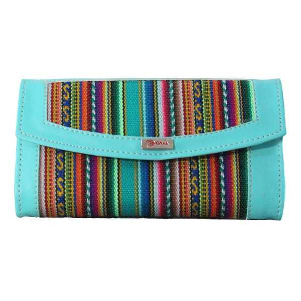 Portefeuille Péruvien MICHA Turquoise Coloré Ethnique - Inka Products
