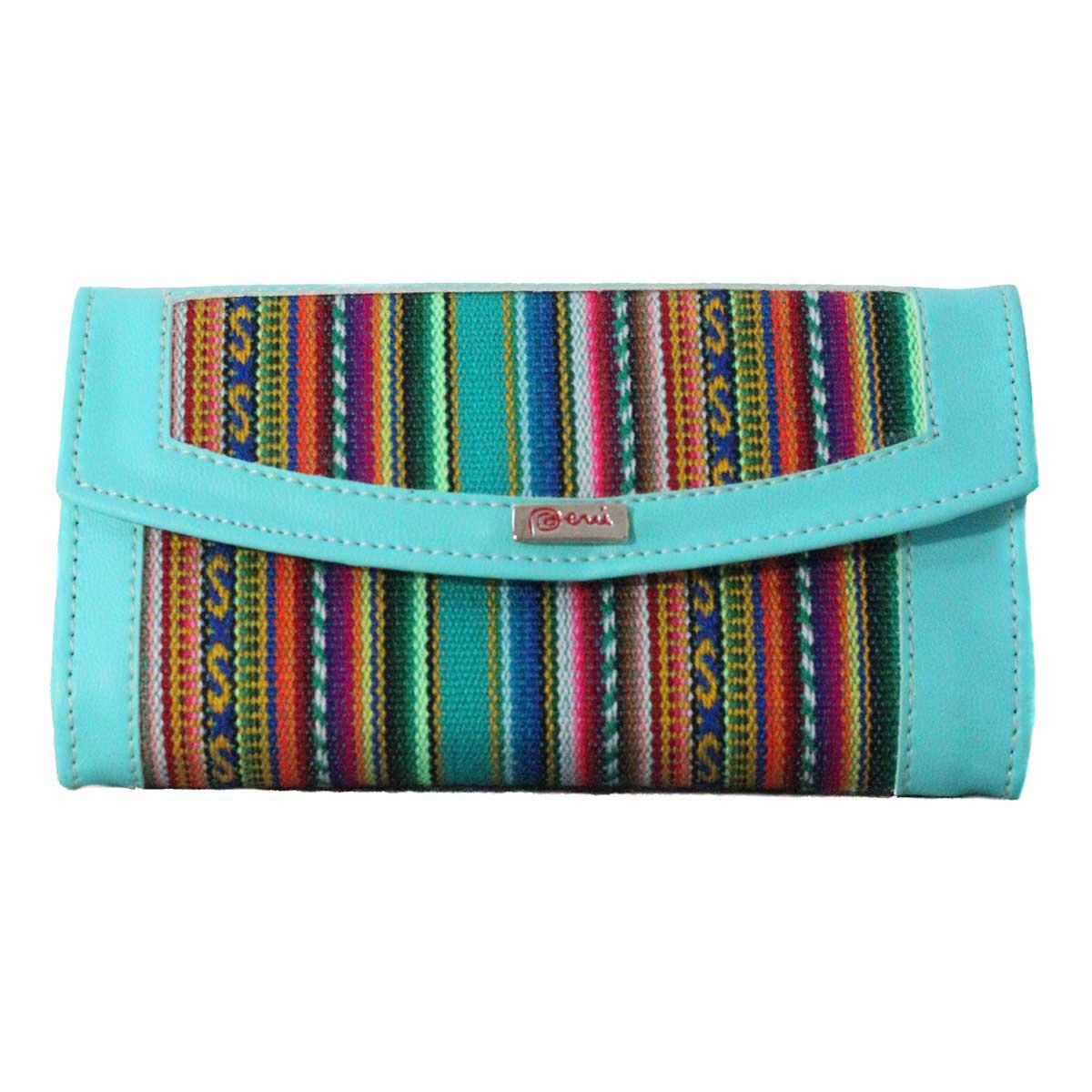 Inka-Products-Portefeuille Péruvien MICHA-Turquoise Coloré Ethnique