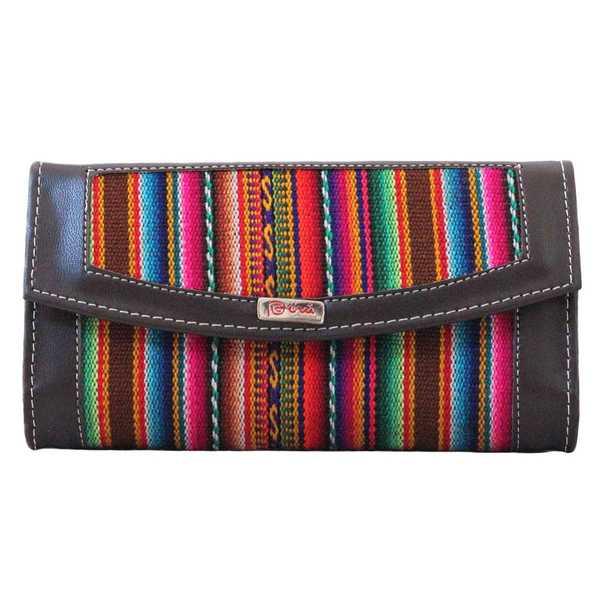 Portefeuille Péruvien CHUMPI Marron Coloré Ethnique - Inka Products