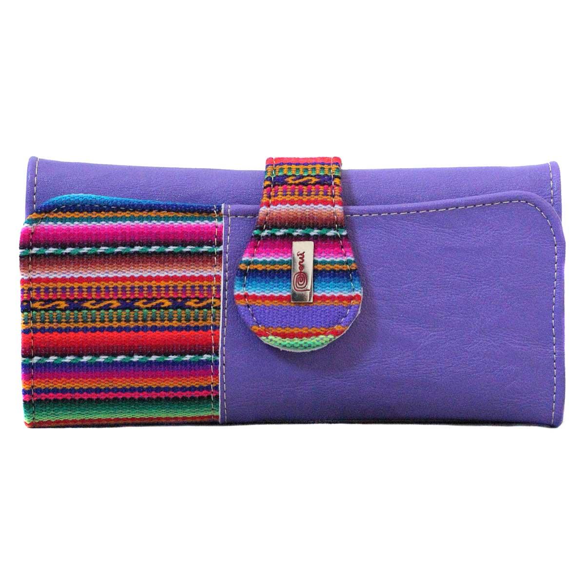 Inka-Products-Portefeuille Péruvien TUKTU-Violet coloré ethnique