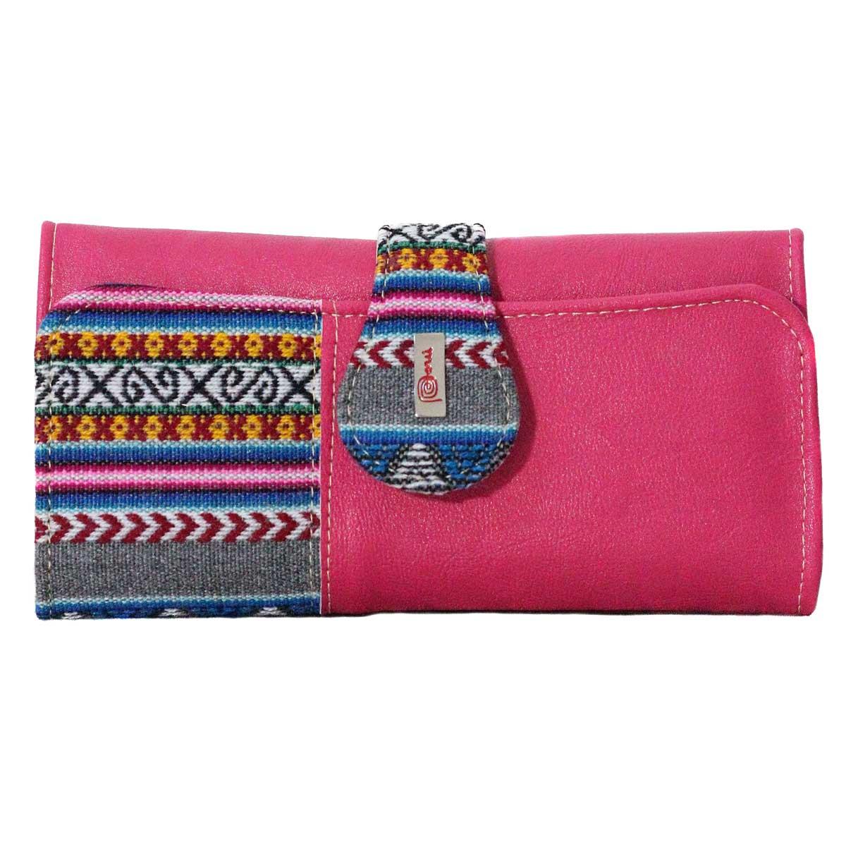 Inka-Products-Portefeuille Péruvien SUNQU-Rose Foncé Coloré Ethnique
