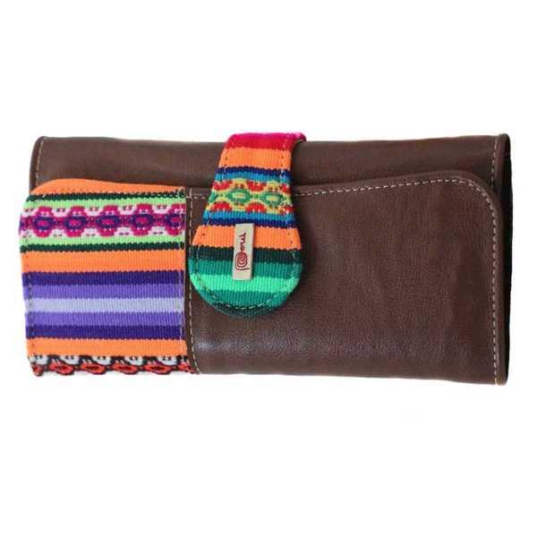 Portefeuille Péruvien PACHA MAMA Marron Foncé Coloré Ethnique - Inka Products